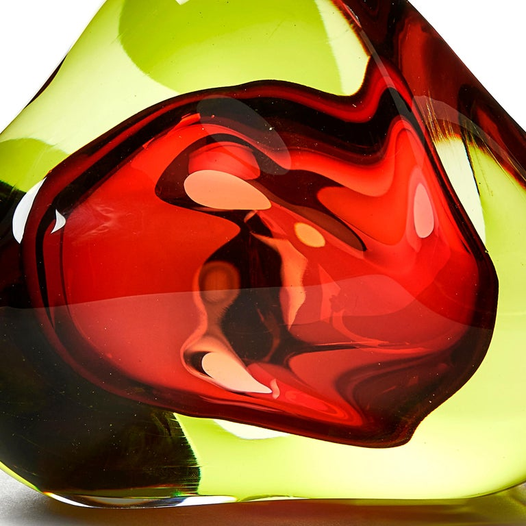 British Vug in Lime and Fuschia, a Unique Glass Sculpture by Samantha Donaldson For Sale