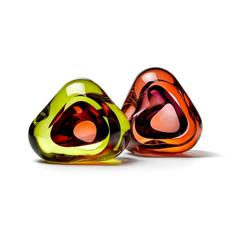 Vug in Lime and Fuschia, a Unique Glass Sculpture by Samantha Donaldson For Sale 2