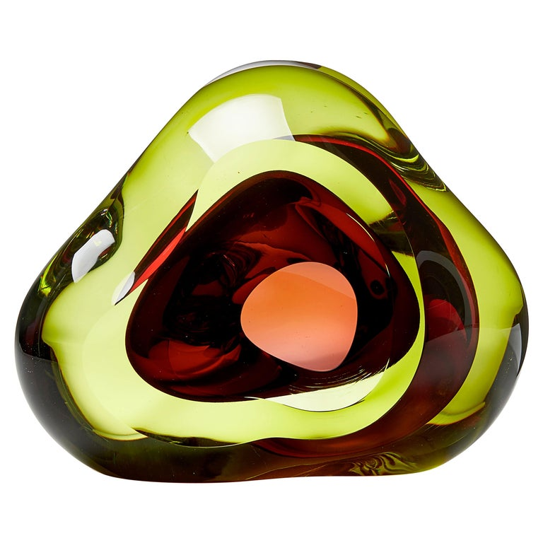 Vug in Lime and Fuschia, a Unique Glass Sculpture by Samantha Donaldson For Sale