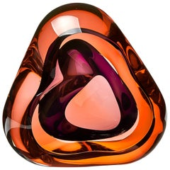 Vug in Soft Orange and Purple, a Unique Glass Sculpture by Samantha Donaldson
