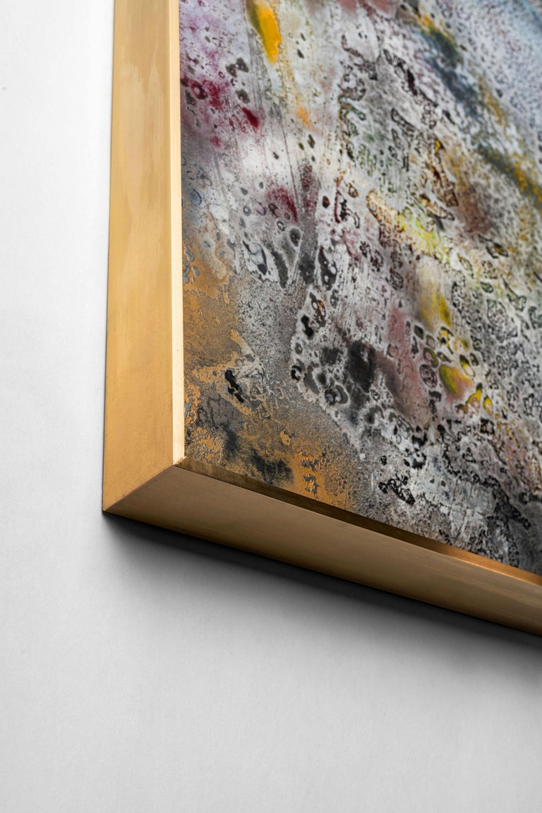 """Vuitton by Jessica Mayer Fine Art is a Textured metal canvas, paint cerused with metal waxes, a metal art technique developed by Artist Jessica Mayer. Includes custom brass frame and cleat mounting system. Original metal """"canvas"""". The texture is an"""