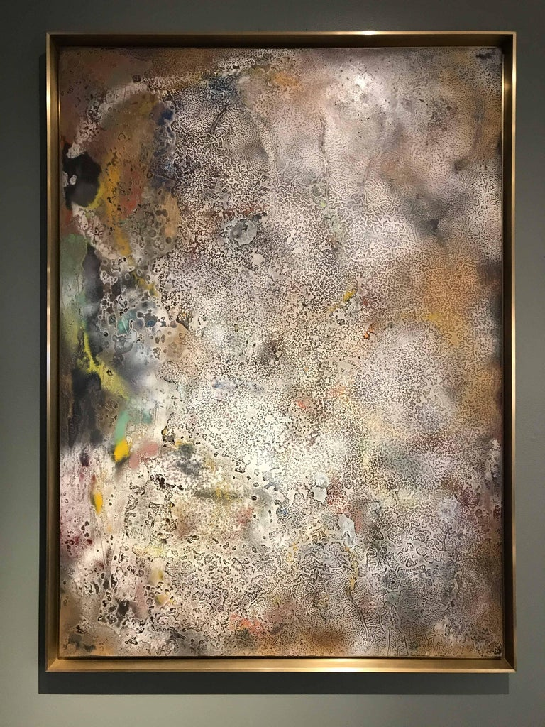 Contemporary Vuitton by Jessica Mayer Fine Art Textured Metal Canvas Cerused with Metal Waxes For Sale