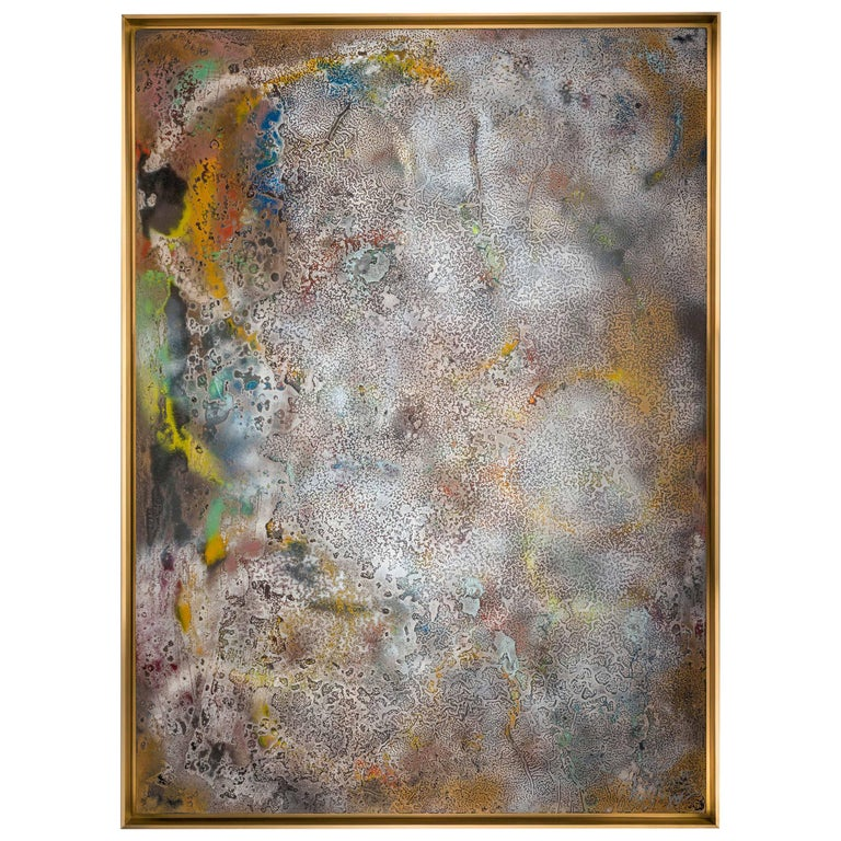 Vuitton by Jessica Mayer Fine Art Textured Metal Canvas Cerused with Metal Waxes For Sale
