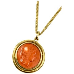 Vulcan and Venus Carved Coral and 18 Karat Gold Double-Sided Medallion Necklace