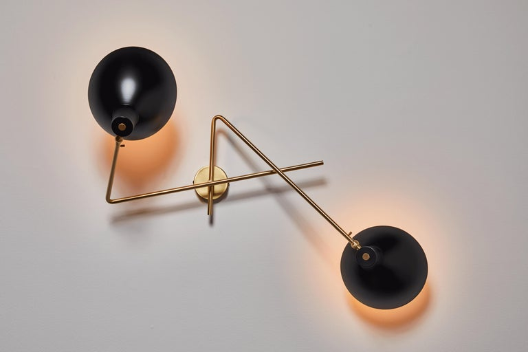 VV Cinquanta twin wall light by Vittoriano Viganó. Originally designed in 1951. Current production with spun aluminum reflectors, anodized brass structure. Light source 2 x E27 LED 6W 2700K non-dimmable bulbs Included. Customization required for
