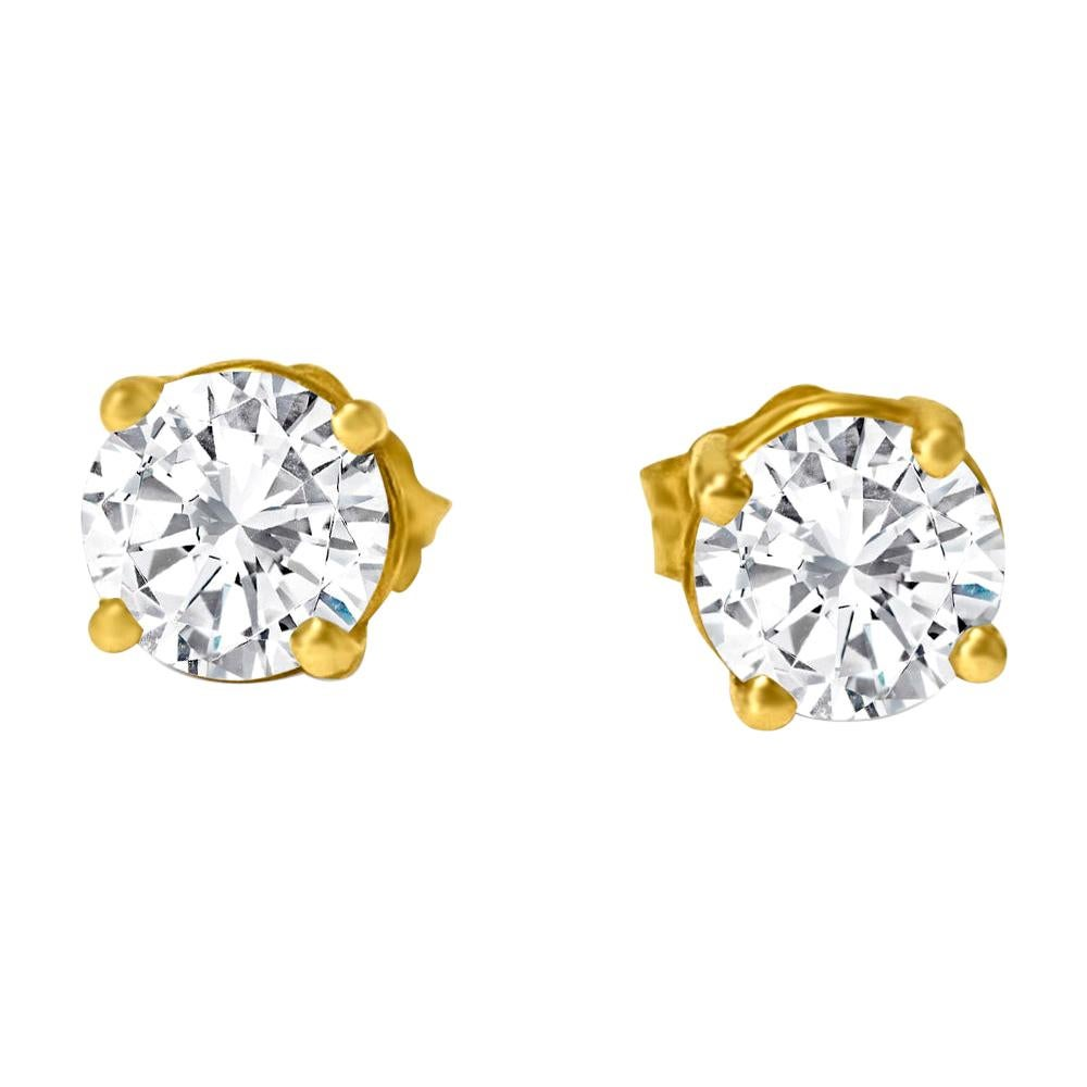 VVS Diamond Studs in 14k Yellow Gold Unisex Earrings