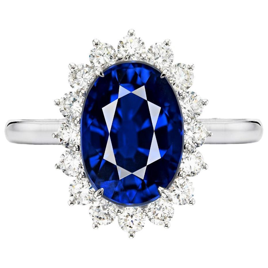 GIA Certified 3 Carat  NO HEAT Sri-Lanka Royal Blue Oval Sapphire Ring