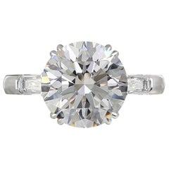 GIA Certified 5 Carat Round Brilliant Cut Diamond Ring Plat