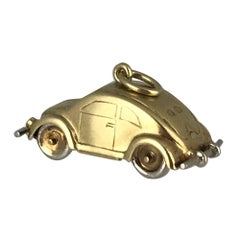 VW Beetle Car, Handmade and Movable Parts, Yellow and White Gold, circa 1950