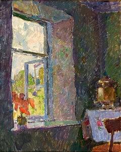 """Vyacheslav Zabelin, """"A window"""", 14in x 17.38in, Oil on panel"""