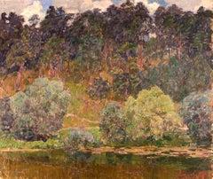 """Vyacheslav Zabelin, """"At the Pond"""", 22in x 26in, Oil on panel"""