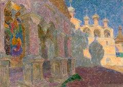 """Vyacheslav Zabelin, """" Belltower in Rostov"""" 27.50in x 19.75in, Oil on panel"""
