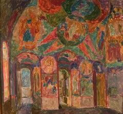 """Vyacheslav Zabelin, """"Church Interior"""", 25.63in x 27.50in, Oil on Linen"""