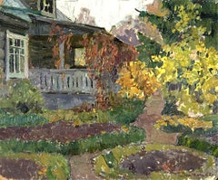 "Vyacheslav Zabelin, ""Garden in Fall"", 19.25in x 23.50in, Oil on canvas"