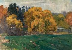 """Vyacheslav Zabelin, """"Green Field"""", 19.75in x 27.50in, Oil on canvas"""