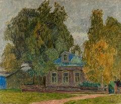"""Vyacheslav Zabelin, """"House of Yesenin in Konstantinova"""", 23.25in x 31.13in, Oil"""