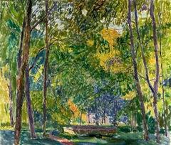 "Vyacheslav Zabelin, ""In an Old Park"" 23.50in x 27.38in, Oil on canvas"