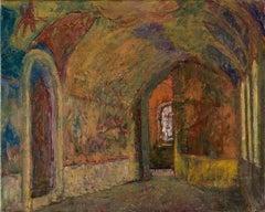"""Vyacheslav Zabelin, """"Interior"""", 14in x 17.50in, Oil on canvas"""