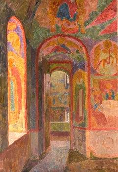 """Vyacheslav Zabelin, """"Interior of Church of Resurrection"""", 28.25in x 19.50in, Oil"""