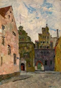 """Vyacheslav Zabelin, """"Near Riga"""", 18.88in x 13in, Oil on panel"""