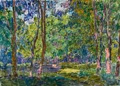 """Vyacheslav Zabelin, """"Park"""", 19.63in x 27.50in, Oil on canvas"""