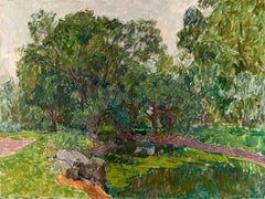 "Vyacheslav Zabelin, ""Pond covered in vegetation"", 24in x 31.88, Oil on canvas"