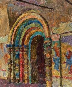 """Vyacheslav Zabelin, """"Portal of St. John in Rostov"""", 23.50in x 19.50in, Oil paint"""