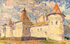 """Vyacheslav Zabelin, """" Rostov Kremlin"""", 30. 75in x 19.63, Oil on panel"""