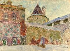 """Vyacheslav Zabelin, """"The Rostov Kremlin"""", 26.75 x 19.25in, Oil on panel"""