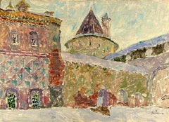 """Vyacheslav Zabelin, """"The Rostov Kremlin"""", 26.75in x 19.25in, Oil on Panel"""