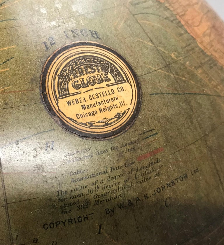 20th Century W. & A.K. Johnston Terrestrial Globe by Weber Costello For Sale