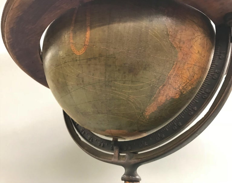 Iron W. & A.K. Johnston Terrestrial Globe by Weber Costello For Sale