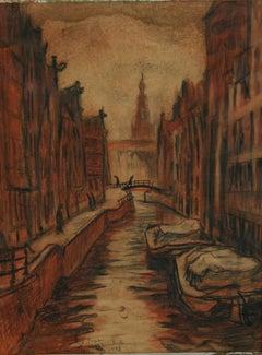 Antique Amsterdam  Canal Scene Pastel Landscape 1948