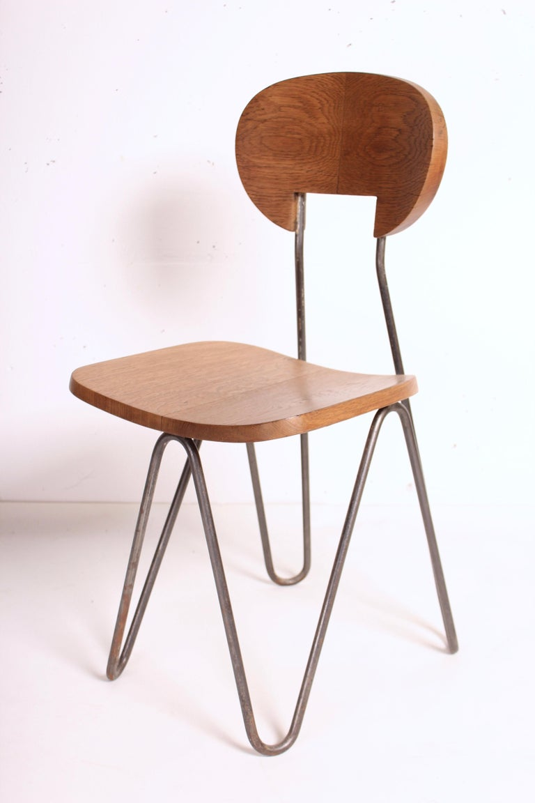 Steel W Chair by Cesar Janello for Raoul Guys Aa Éditions, 1947 For Sale