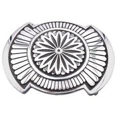 W. Doran Sterling Silver Native American Belt Buckle