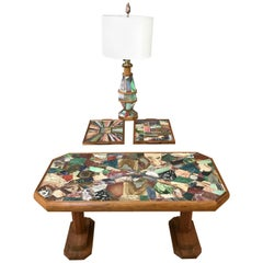 W. E. Browning Stone Mosaic Walnut Coffee Table, Tray, and Lamp Set, 1972