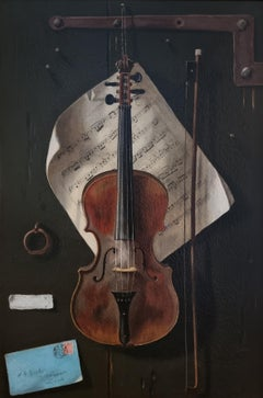 Trompe l'oeil, Still Life with Violin by W G Becker, Oil on Canvas