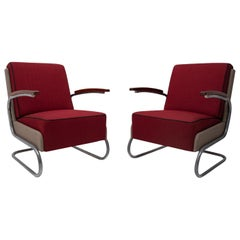 W. H. Gispen, Pair of Cantilever Tubular Steel Armchairs Model FN24, 1933