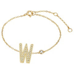 W Initial Bezel Chain Bracelet
