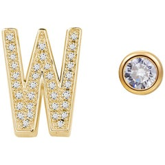 W Initial Bezel Mismatched Earrings