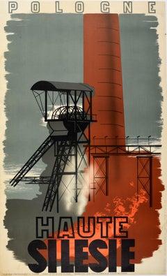 Original Vintage Travel Poster Pologne Poland Upper Silesia Industrial Design