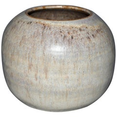 W. Young Mid-Century Modern Beige & Brown Pottery Earthenware Round Vase, Vessel