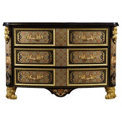 W020 Sideboard in Brass Gold Finish with Ebony Veneer & Inlaid Metal by Zanaboni