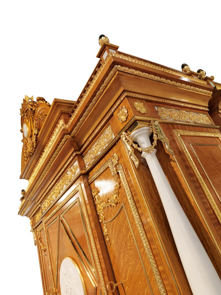 Art Deco W029 Cabinet, Citronnier Wood & Marble with Gilt Bronze & Gold, Zanaboni For Sale