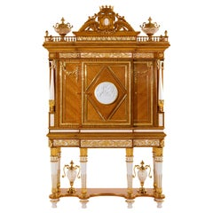 W029 Cabinet, Citronnier Wood & Marble with Gilt Bronze & Gold, Zanaboni