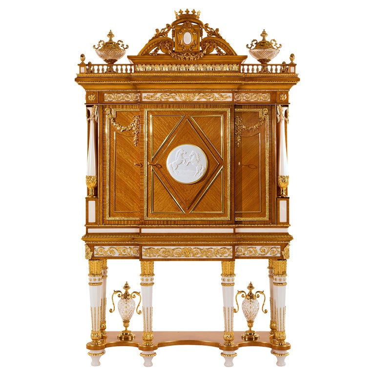 W029 Cabinet, Citronnier Wood & Marble with Gilt Bronze & Gold, Zanaboni For Sale