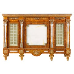 W031 Italian Sideboard in Wood with White Onyx Top and Engraved Glass, Zanaboni