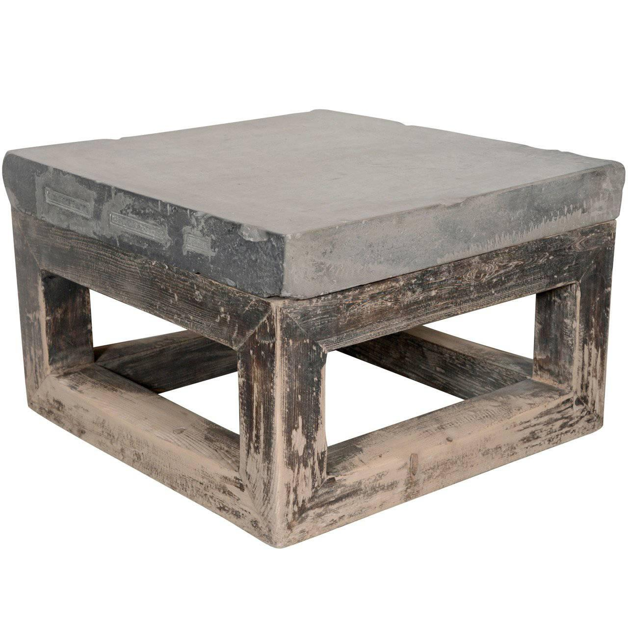 Merveilleux Wabi Sabi Appeal Blue Stone Top End Table For Sale