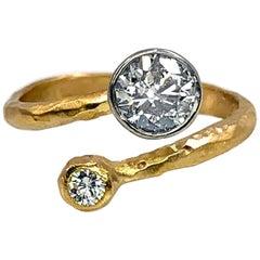 """""""Wabi-Sabi"""" Bypass Ring Featuring a 0.91 Carat Diamond in Brushed 18 Karat Gold"""
