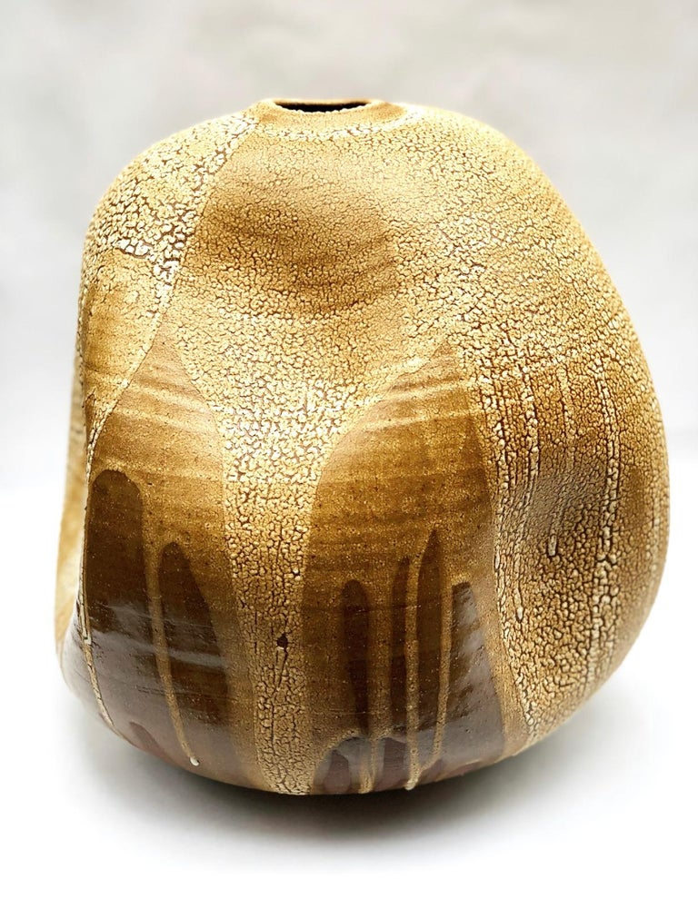 American Wabi Sabi Ceramic Vase, Interior Sculpture, Handmade Contemporary Texture Vessel For Sale
